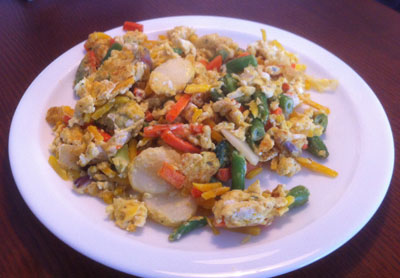 Stir fry with eggs and vegetables