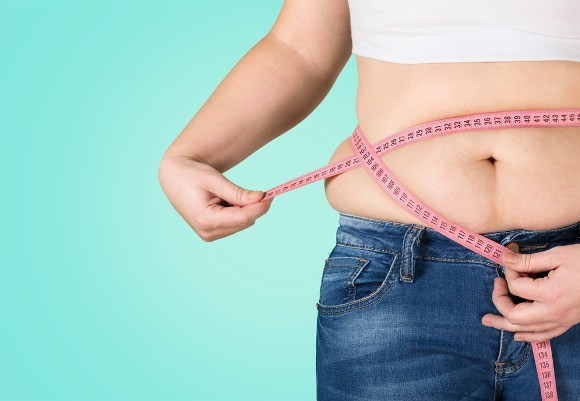 Overweight Midsection of Woman