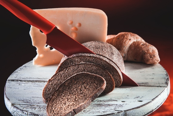 Red Knife Slicing Bread Cheese