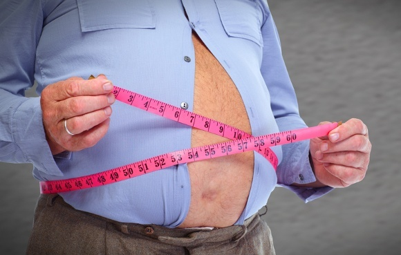 Stomach Middle Section of Overweight Man