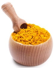 Turmeric in Wooden Bowl