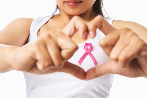 Woman Holding Pink Ribbon