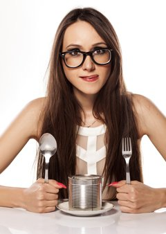 Hungry Woman With a Can of Food